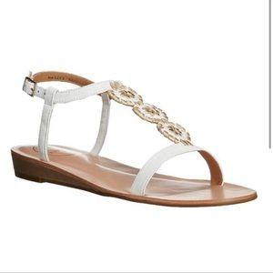 NWOT $148 Jack Rogers Eve Sandal 5 T-Strap White